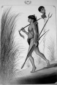 """Immagine tratta dal libro """"Filipinas 1874"""" di Jose Honorato Lozano raffigurante un guerriero Mayoyao con la testa di un avversario infilzata alla propria ascia"""