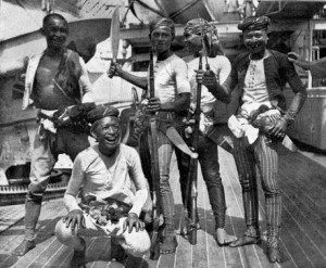 Moros with Sultan brother on board US warship