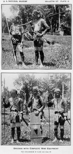 Krieger - Tav. 21 - Bagobo vestiti ed equipaggiati per il combattimento