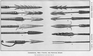 Krieger - Tav. 5 - Lance da caccia, pesca, cerimoniali e da guerra