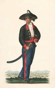 Una guardia de vino filippina, ovvero un ufficiale di controllo sui monopoli di governo come tabacco e arrack (tipo di distillato alcolico)