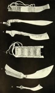 Armi e attrezzi da lavoro della tribù Bagobo