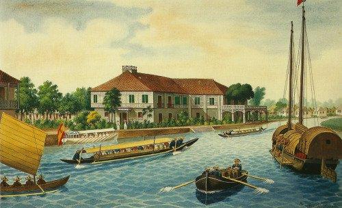 Imbarcazioni a remi filippine dipinte nel 1867 da José Honorato Lozano