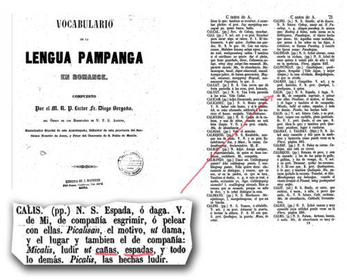 Arte marziale filippina Kalis - Voce Calis Vocabolario spagnolo